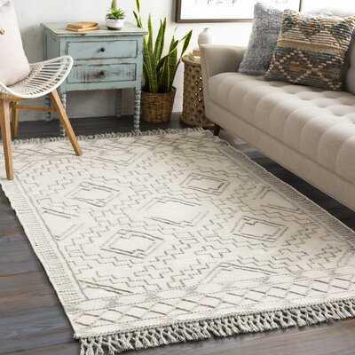 "Hilley Geometric Hand-Tufted Wool Cream/Gray Area Rug (5' x 7'-6"") - Wayfair"