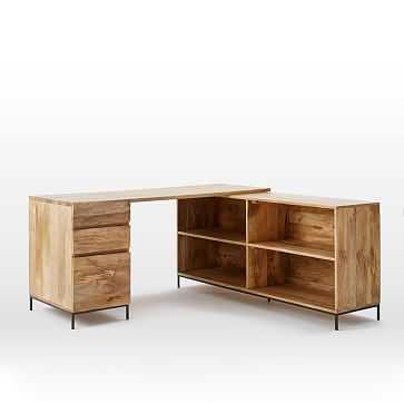 Industrial Storage Modular Desk, Set 3: Desk + Box File + Bookcase - West Elm