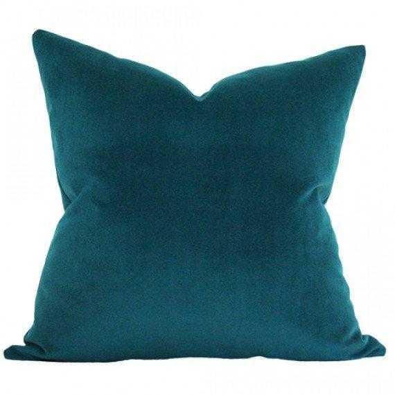 Peacock Performance Velvet - 20x20 pillow cover (square medium) - Arianna Belle