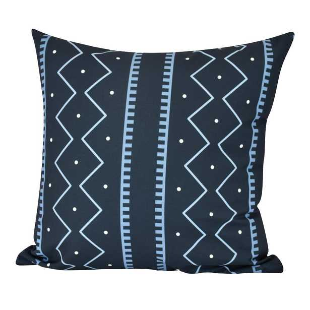 E by Design 20 in. Mudcloth Indoor Decorative Pillow, Navy Blue - Home Depot