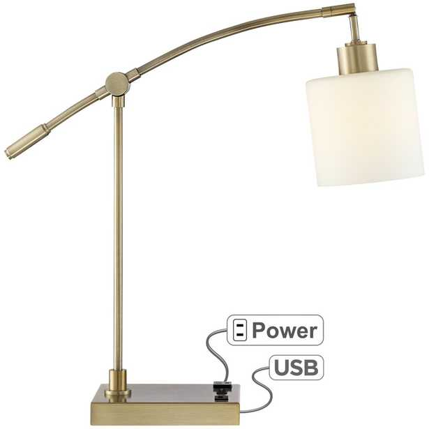 Kipling Desk Lamp with Oulet and USB Port - Style # 43A15 - Lamps Plus