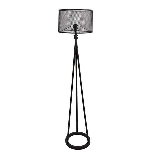 Silverwood 64 in. Woodruff Industrial Tripod Black Floor Lamp with Shade - Home Depot