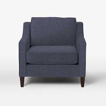 Paidge Chair, Poly Fill, Pebble Weave, Aegean Blue, Cone Chocolate Legs - West Elm