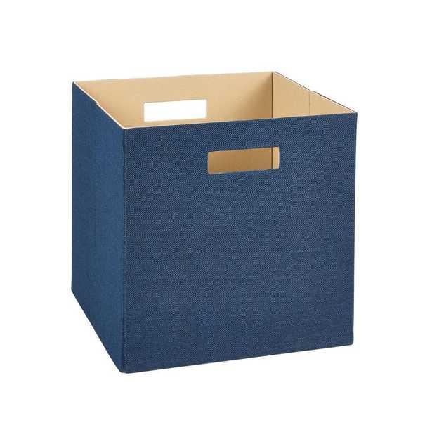 13 in. H x 13 in. W x 13 in. D Decorative Fabric Storage Bin in Blue - Home Depot