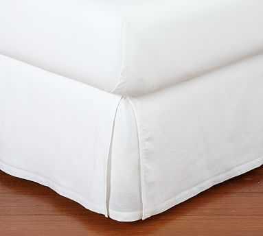 Belgian Linen Bed-Skirt, Queen, White - Pottery Barn