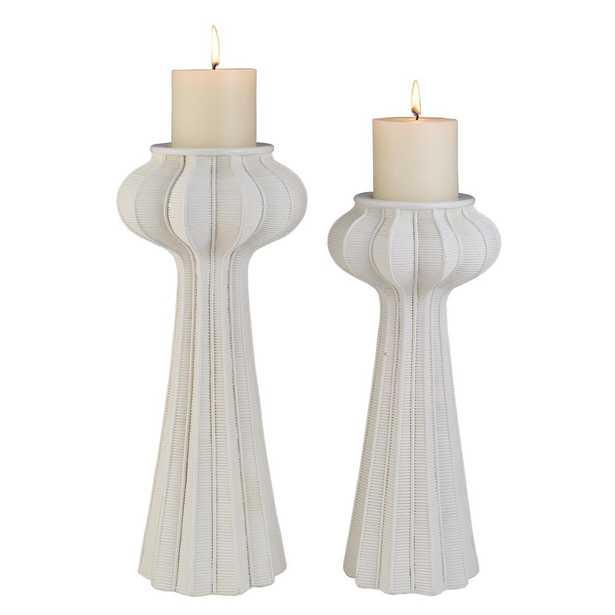 OK LIGHTING White Nautilus Polyresin Candleholders (Set of 2) - Home Depot