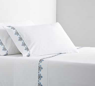 Blossom Embroidered Organic Sheet Set, Queen, Cool Multi - Pottery Barn