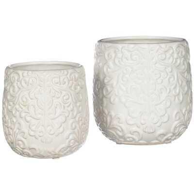 Shisler Small White Scroll Filigree Embossed Decorative Vases - Set of 2 - Wayfair