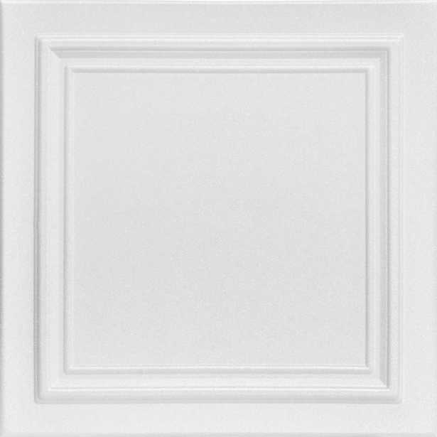 Line Art 1.6 ft. x 1.6 ft. Foam Glue-up Ceiling Tile in Plain White (21.6 sq. ft./Case), Satin White - Home Depot