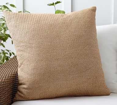 "Faux Natural Fiber Indoor/Outdoor Pillow, 26"", Natural - Pottery Barn"
