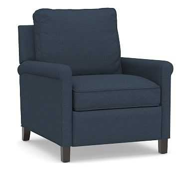 Tyler Roll Arm Upholstered Recliner without Nailheads, Down Blend Wrapped Cushions, Brushed Crossweave Navy - Pottery Barn