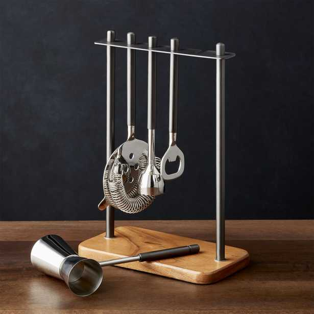 Fenton Graphite and Wood Bar Tool Set - Crate and Barrel