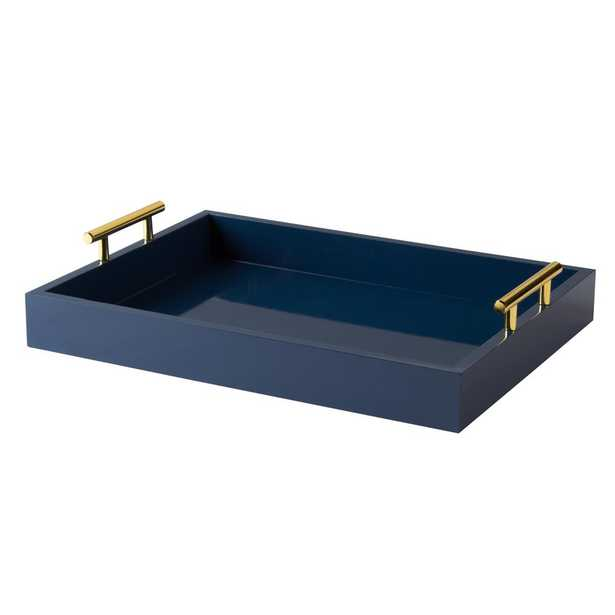 Kate and Laurel Lipton Navy Blue Decorative Tray - Home Depot