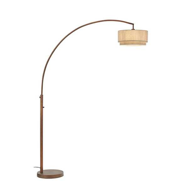 Elena II 82 in. LED Arched Antique Bronze Floor Lamp with Double Shade and Dimmer - Home Depot
