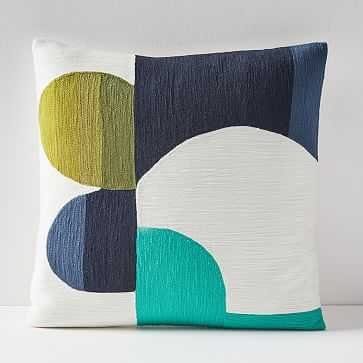 """Crewel Cut Out Curves Pillow Cover, Midnight, 18""""x18"""" - West Elm"""