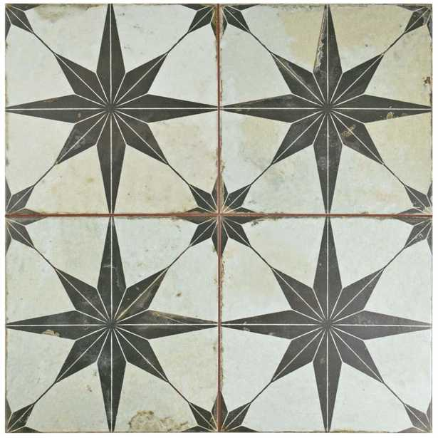 Merola Tile Kings Star Nero 17-5/8 in. x 17-5/8 in. Ceramic Floor and Wall Tile (11.1 sq. ft. / case), Off White And Black/Medium Sheen - Home Depot