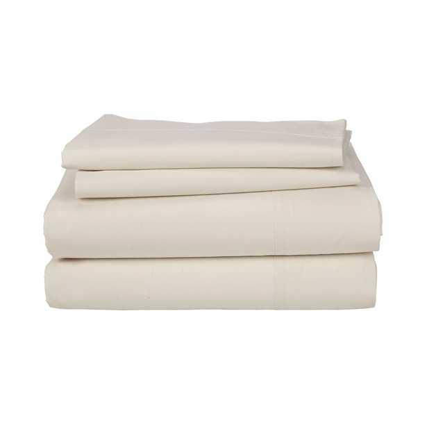 4-Piece Natural 200 Thread Count Percale Queen Sheet Set - Home Depot