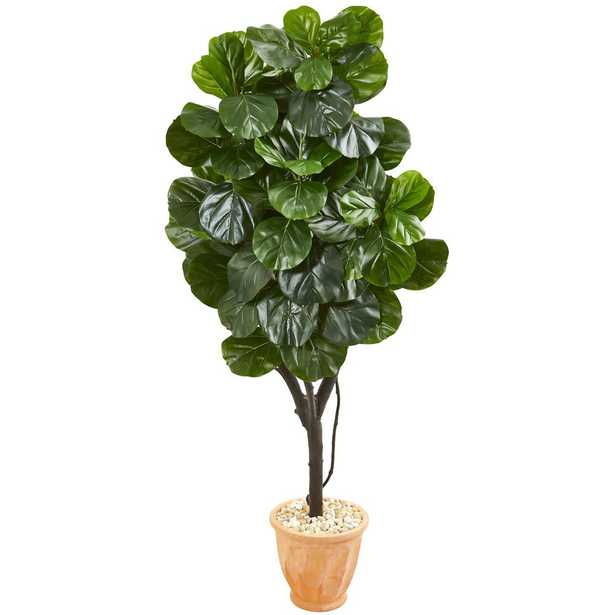 Nearly Natural Indoor 65 Fiddle Leaf Fig Artificial Tree in Terra Cotta Planter - Home Depot