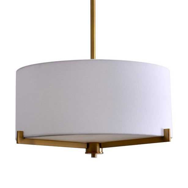 Evolution Lighting 3-Light Brass Semi-Flush Mount Light with Fabric Shade - Home Depot