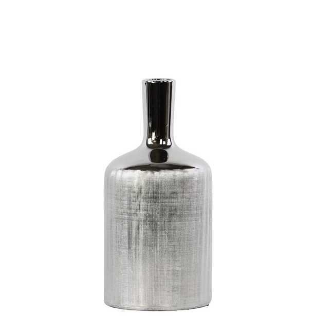 Urban Trends Collection Polished Chrome Silver Ceramic Decorative Vase, Polished Chrome Finish - Home Depot