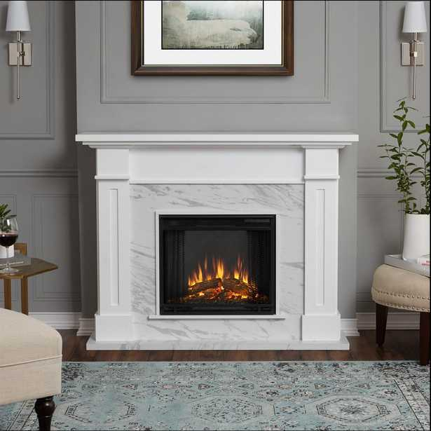 Kipling 54 in. Freestanding Electric Fireplace in White with Faux Marble - Home Depot