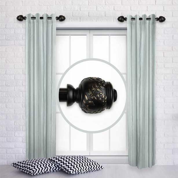 Rod Desyne Colette 12 in. - 20 in. L Adjustable 1 in. Dia Single Side Window Curtain Rod in Black (Set of 2) - Home Depot
