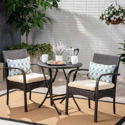 Dereham Outdoor 3 Piece Bistro Set with Cushions - Wayfair