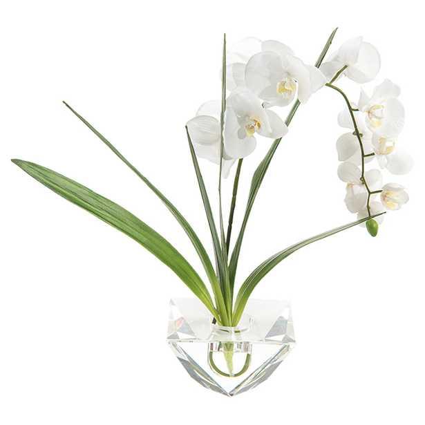 John Richard Modern Classic Cut Crystal Vase White Phalaenopsis Orchid - Kathy Kuo Home