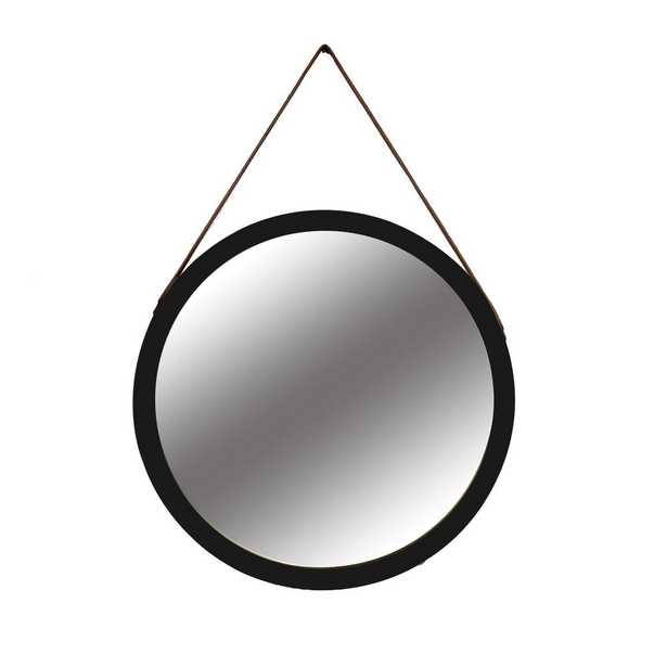 30 in. Black Round Mirror with Leather Strap - Home Depot