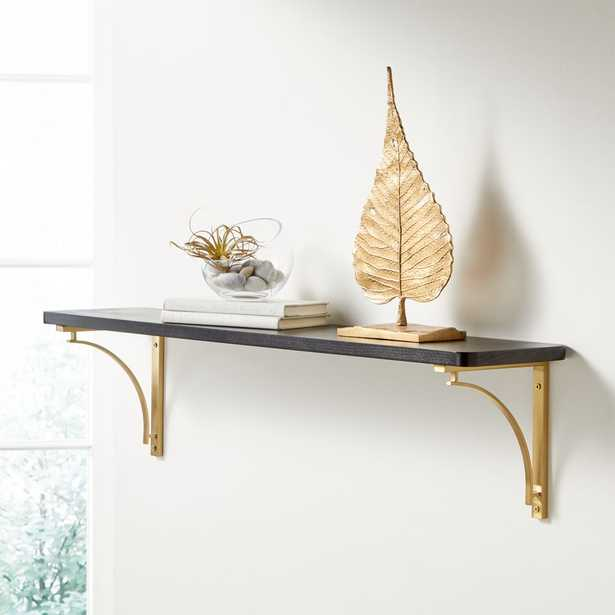 """Riggs 36"""" Black Shelf with Brass Arc Brackets - Crate and Barrel"""