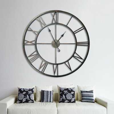 Oversized Elborough Roman No. Iron Wall Clock - Large - Birch Lane
