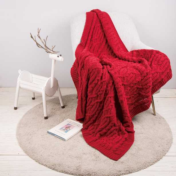 60 in. L x 50 in. W, 865g Knitted Polyester Red Throw Blanket - Home Depot