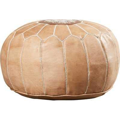 Carolos Leather Pouf - Birch Lane