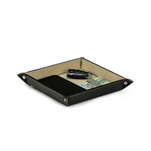 BEY-BERK Black Leather Valet Tray with Wireless Charger - Home Depot