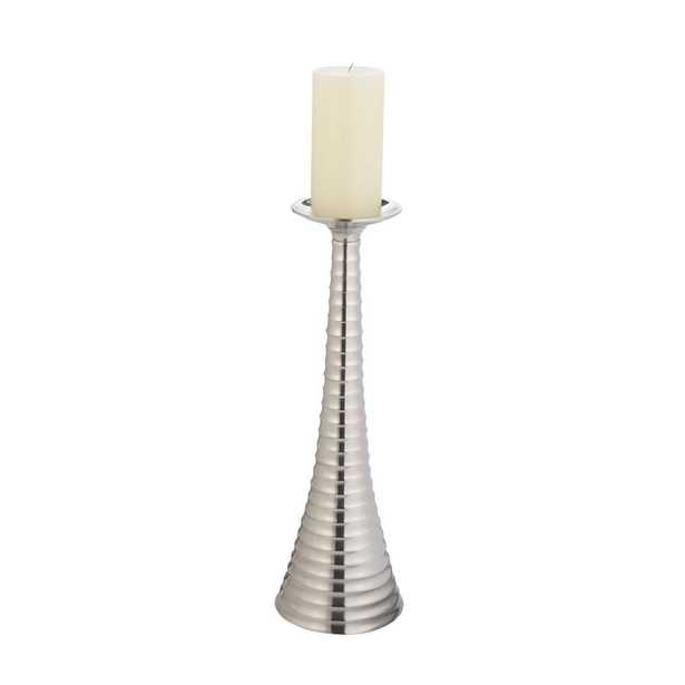 Silver Bugle 18 in. Nickel Plated Aluminum Candle Holder - Home Depot