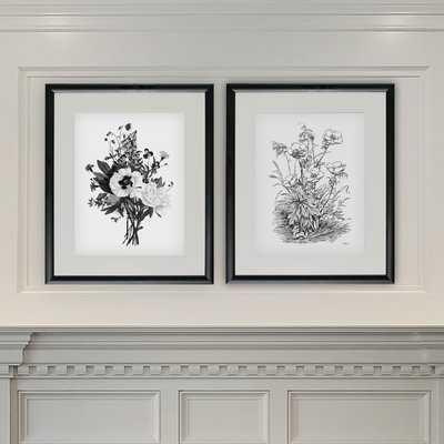 'Botanical Black and White II' 2 Piece Framed Acrylic Painting Print Set - Wayfair