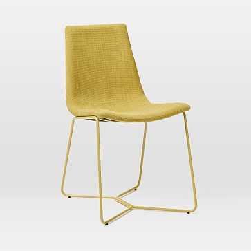 Slope Upholstered Dining Chair, Basket Slub, Dark Horseradish - West Elm