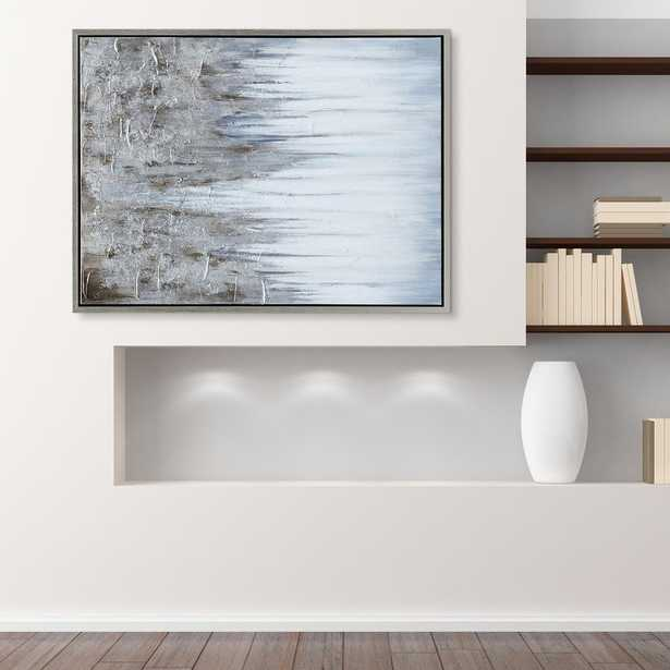 Empire Art Direct Iceberg Textured Metallic Hand Painted by Martin Edwards Framed Abstract Canvas Wall Art, Silver - Home Depot