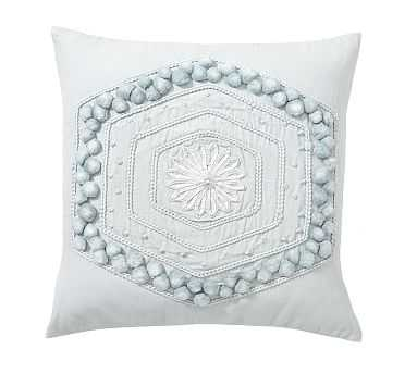 "Pom Pom Embroidered Pillow Cover, 20"", Porcelain Blue - Pottery Barn"