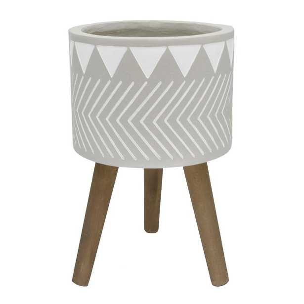 Flora Bunda 12 in Fibgerglass Pot with Wood Stand Mid-Century Planter, Grey - Home Depot