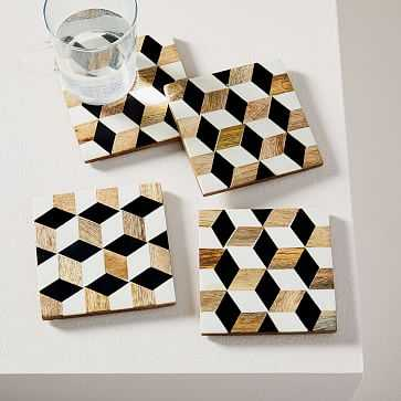 Wood + Resin Coasters, Set of 4 - West Elm