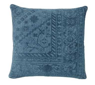 """Romilly Embroidered Pillow Cover, 22"""", Denim Blue - Pottery Barn"""