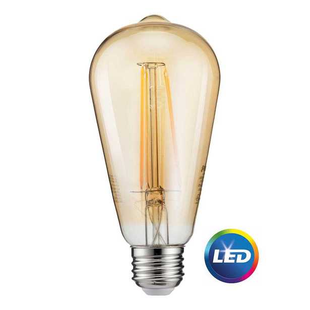 40-Watt Equivalent ST19 Dimmable Indoor/Outdoor Vintage Glass Edison LED Light Bulb Amber Warm White (2000K) (4-Pack) - Home Depot