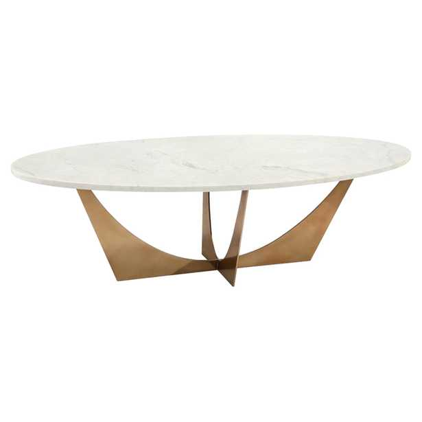 John Richard Modern Classic Marble Brass Oval Cocktail Table - Kathy Kuo Home