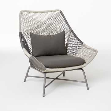 Huron Large Lounge Chair With Cushion, Gray-Individual - West Elm