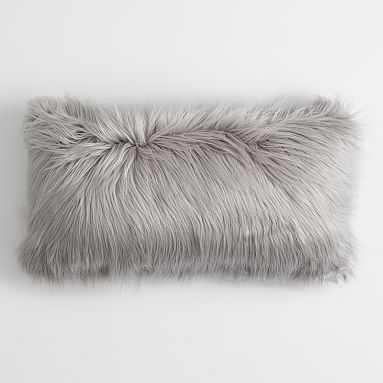 """Furrific Lumbar Pillow Cover, 12""""x24"""", Himalayan Gray with insert - Pottery Barn Teen"""