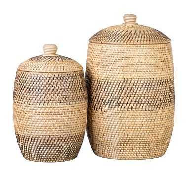 Amena Lidded Baskets, Set of 2 - Multi - Pottery Barn