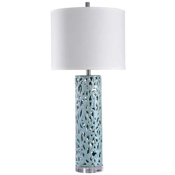 StyleCraft 38 in. Anartia Blue Table Lamp with White Styrene Shade - Home Depot
