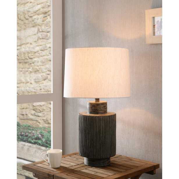 Manor Brook Rainier 26 in. Distressed Gray Table Lamp with Cream Fabric Shade - Home Depot