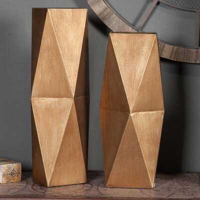 Kates Metal 2 Piece Vase Set - Wayfair